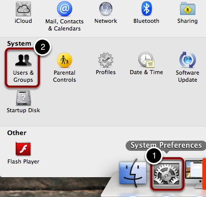 Open System Preferences and go to Users and Groups