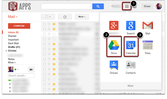 Navigate to Apps through Gmail