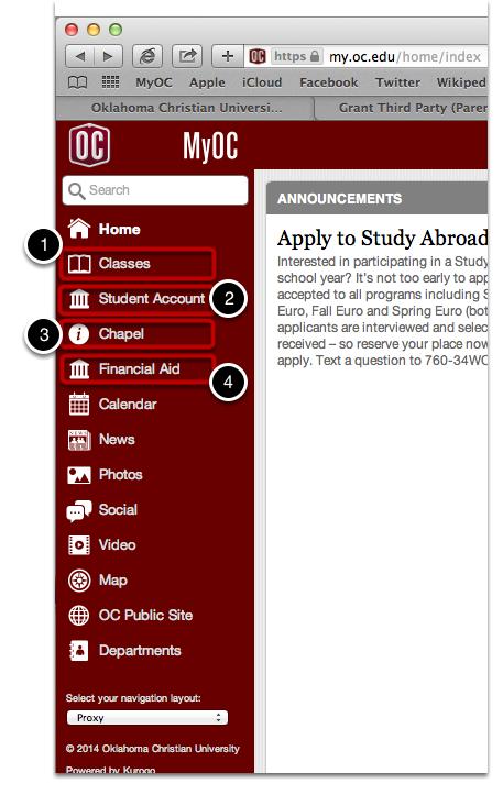 Your MyOC Homepage