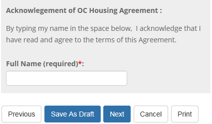 Page 2: Acknowledgement of OC Housing Agreement
