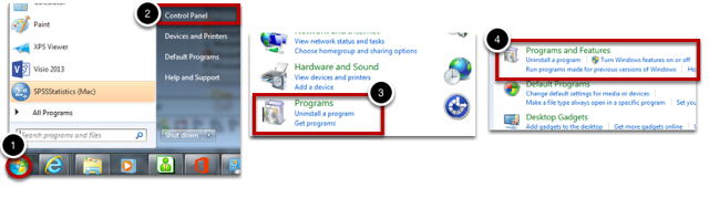 """Navigate to """"Programs and Features"""""""