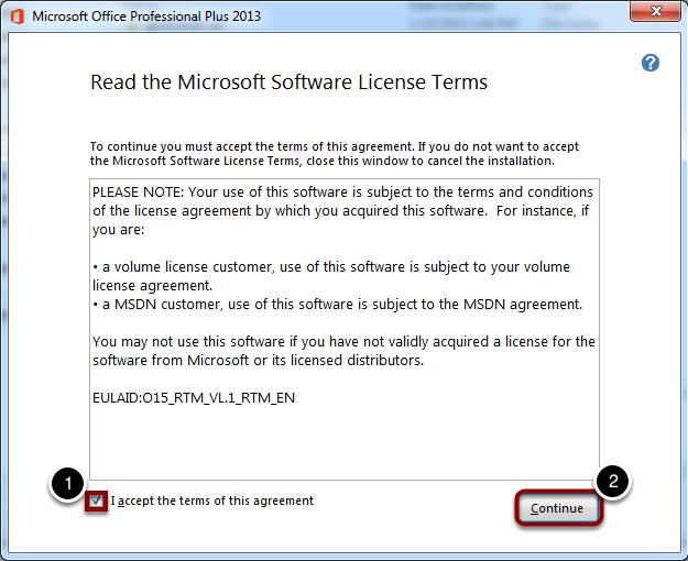 Accept the Software License Terms