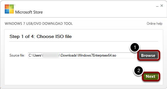Run Windows 7 USB/DVD Download Tool