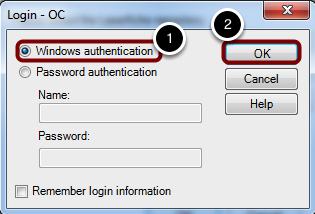 """Choose """"Windows authentication"""" and click """"OK"""""""