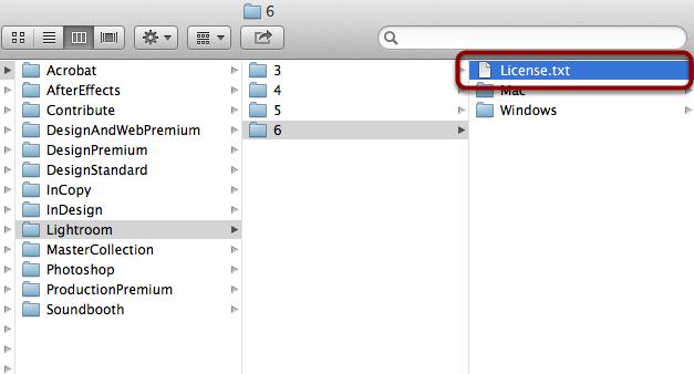 Go back to smb://Software/dist/Adobe/Lightroom/6 finder window