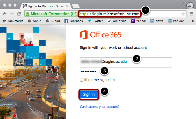 Navigate to Microsoft 365 website
