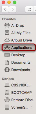 "Open the ""Applications"" folder in ""Finder"""