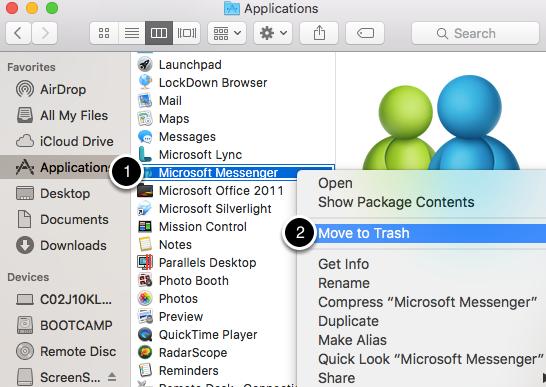 "Delete ""Microsoft Messenger"""