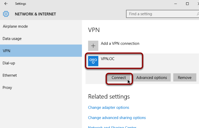 Connect to OC VPN