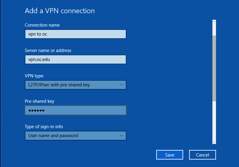 Set-Up the connection location