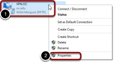 Select the properties of your VPN.OC connection
