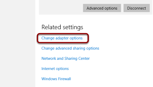 """Click """"Change Your Adapter Settings"""""""