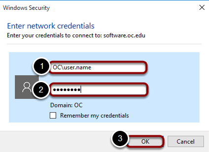 Authenticate with your OC credentials