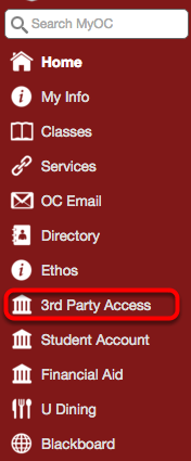 "On the menu on the left hand side of the screen, click ""3rd Party Access"""