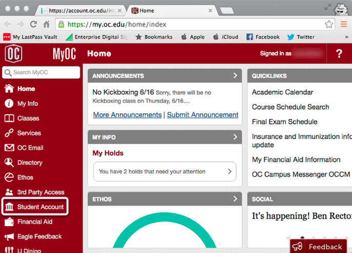 Navigate to Student Account