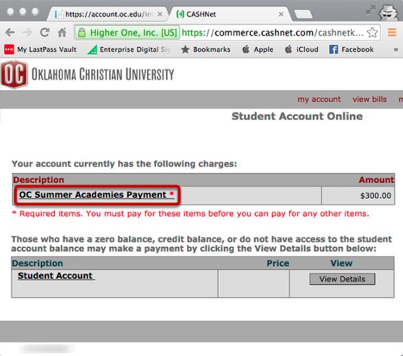 OC Summer Academy Payment