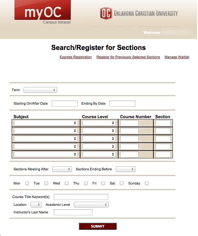 SEARCH/REGISTER FOR SECTIONS