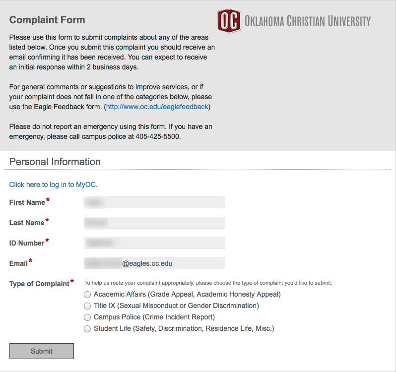 Student Complaint Form - Faculty/Staff – Oklahoma Christian University