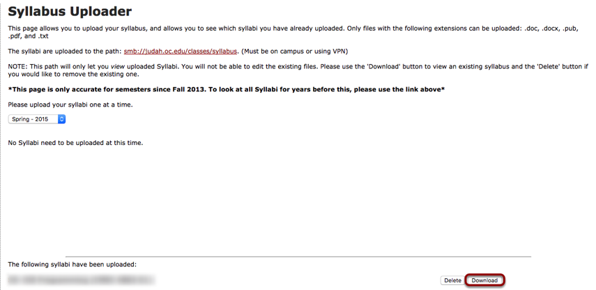 Downloading an existing syllabus