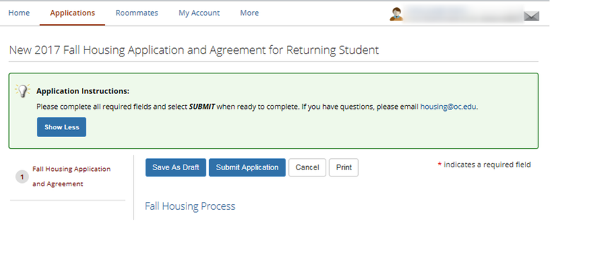 3. Complete Fall Housing Application