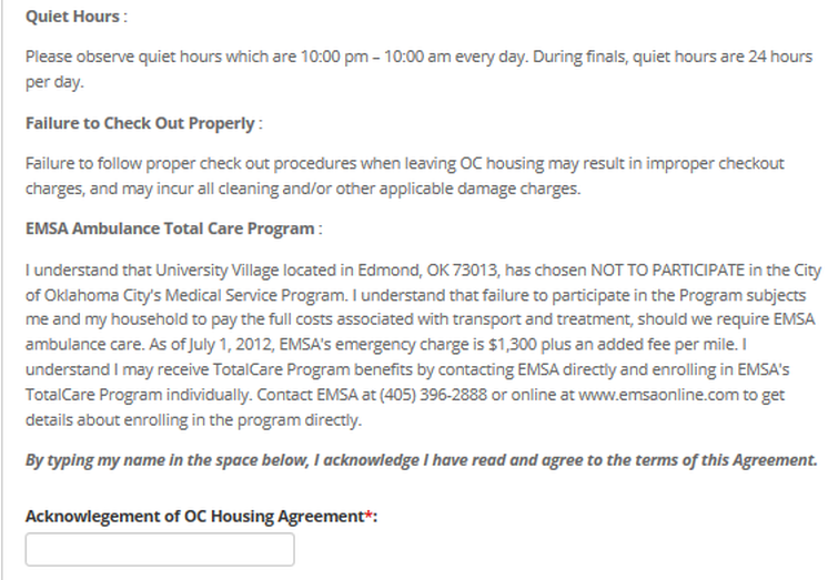 Sign Housing Agreement