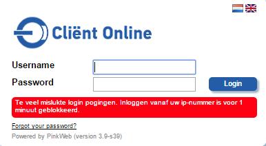 Verkeerd wachtwoord