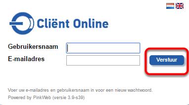 """Vul je gebruikersnaam en e-mailadres in en klik op """"Verstuur"""""""