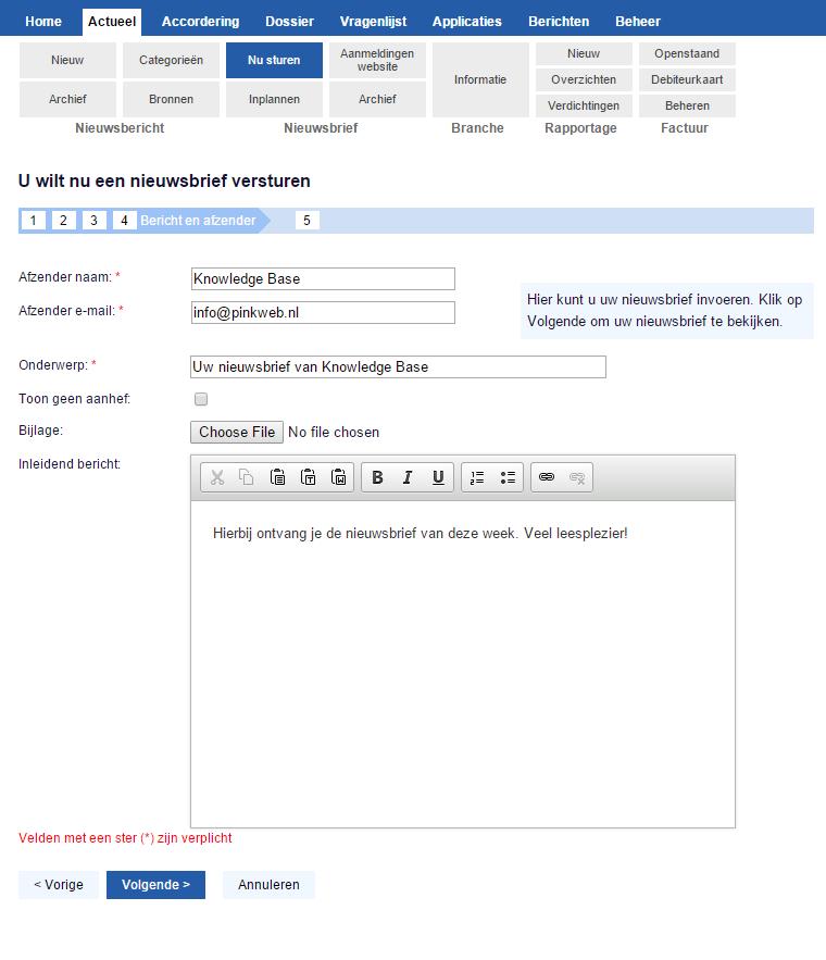 Stap 4: Afzender en inleidend bericht