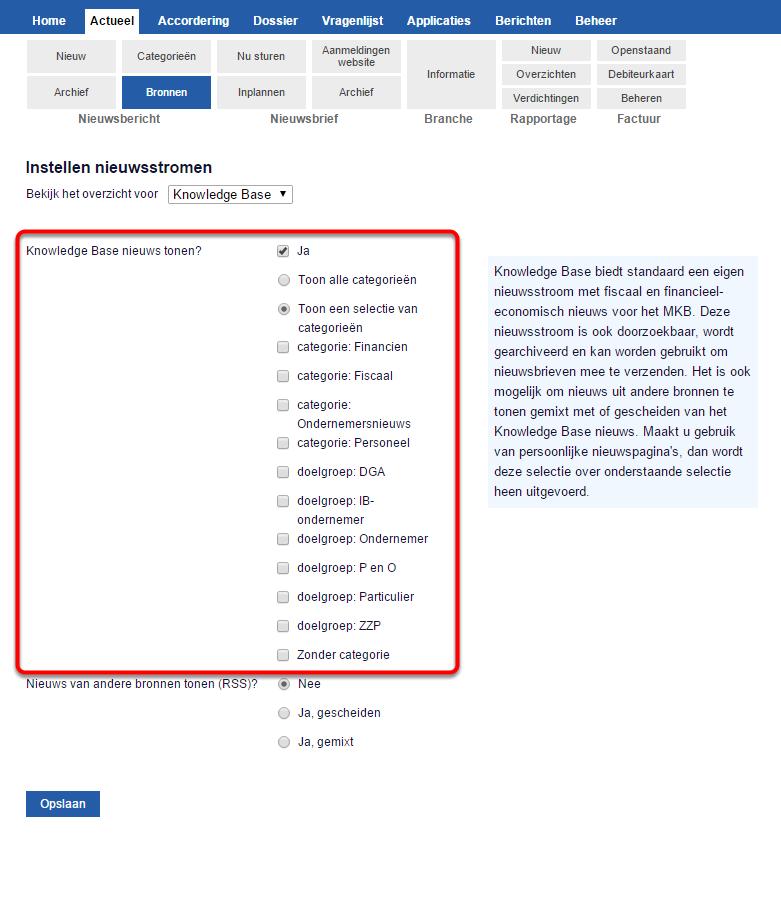 Selecteer de categorieën waaruit nieuws getoond moet worden