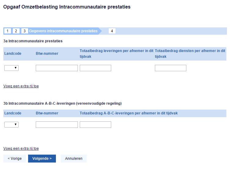 Stap 3: gegevens intracommunautaire prestaties