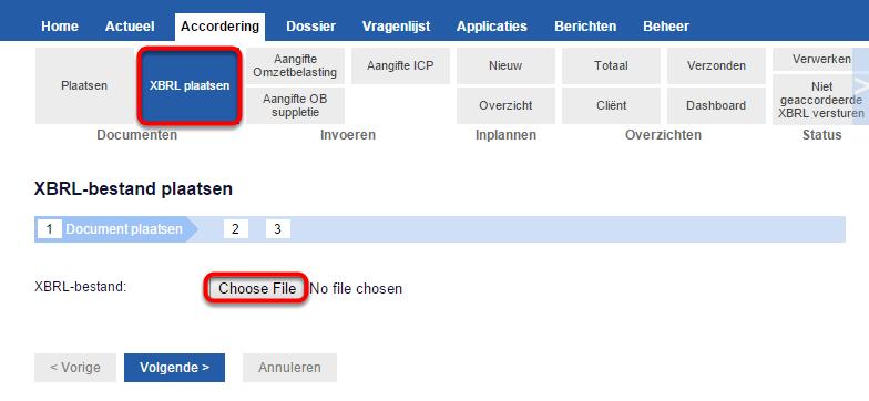 Stap 1: klik op accordering > documenten > XBRL plaatsen