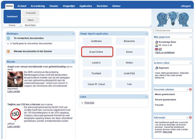 Klik op de Exact Online knop