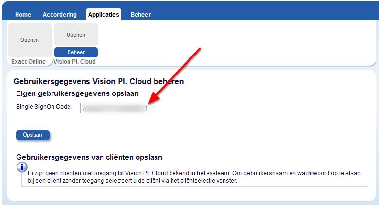 Ga in uw Cliënt Online omgeving naar Applicaties->Visionplanner Cloud en klik op beheer