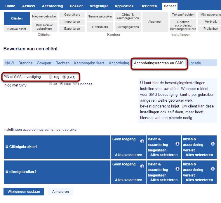 """Stel SMS bevestiging in op het tabblad """"accorderingsrechten en SMS"""""""