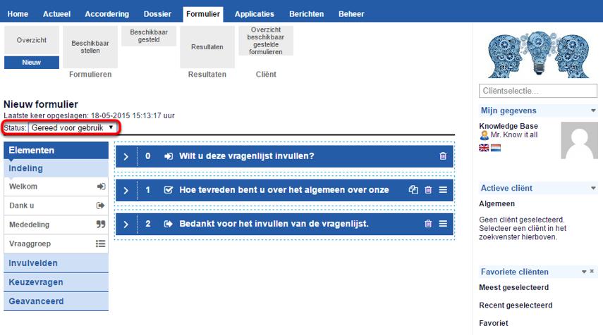 Stap 2: status aanpassen naar 'Gereed voor gebruik'