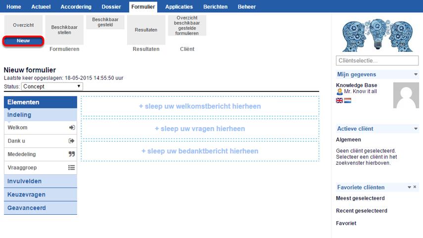 Stap 1: ga naar Formulier -> Formulieren -> Nieuw