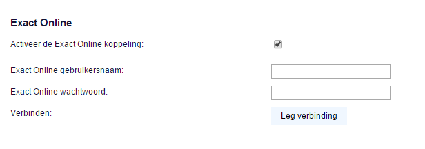 Stap 3: voer gebruikersgegevens van Exact Online in