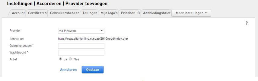 1. PinkWeb selecteren als provider in de aangifte