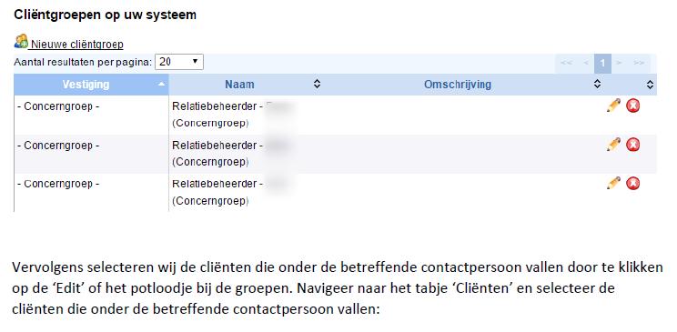 Om de contactgegevens te tonen maken wij per kantoorgebruiker een selectiegroep aan: