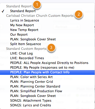 You can also print other reports from the drop down menu