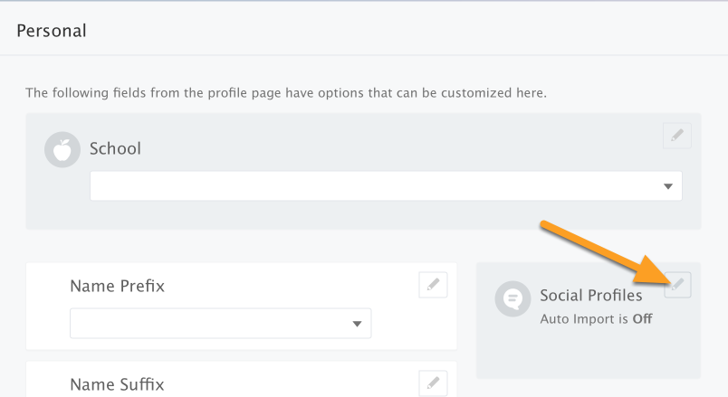 Edit Social Profile Settings