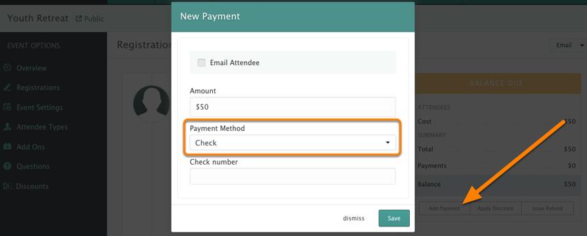 Cash/Check Payments