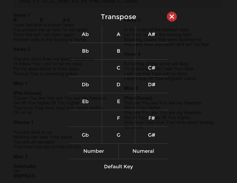 Choose the key you would like to transpose to