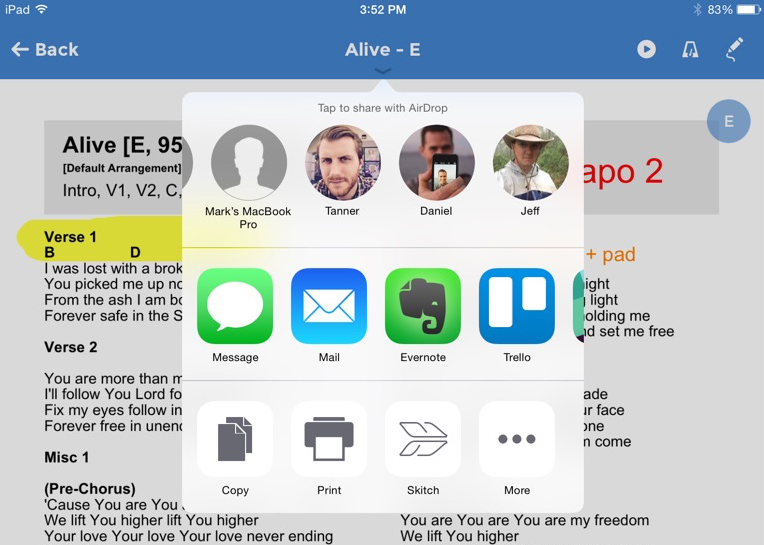 Share the PDF via AirDrop, another app on the device, or to a wireless printer