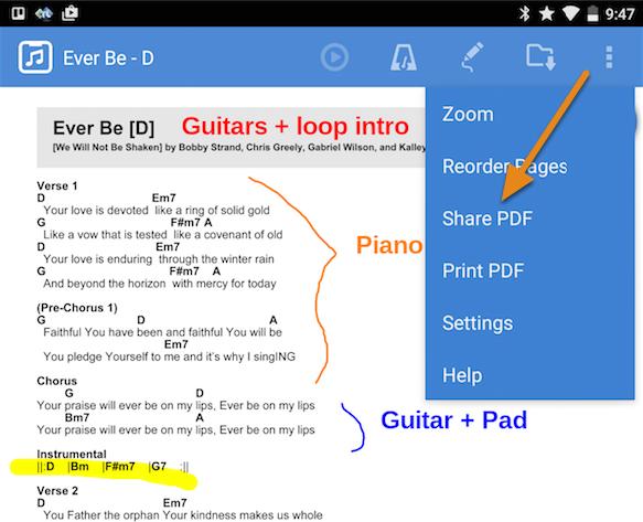 "1. Choose ""Share PDF"" from the PDF options menu"