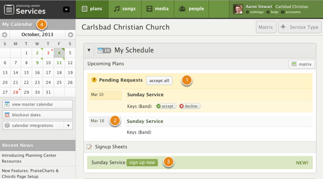 The My Schedule Page