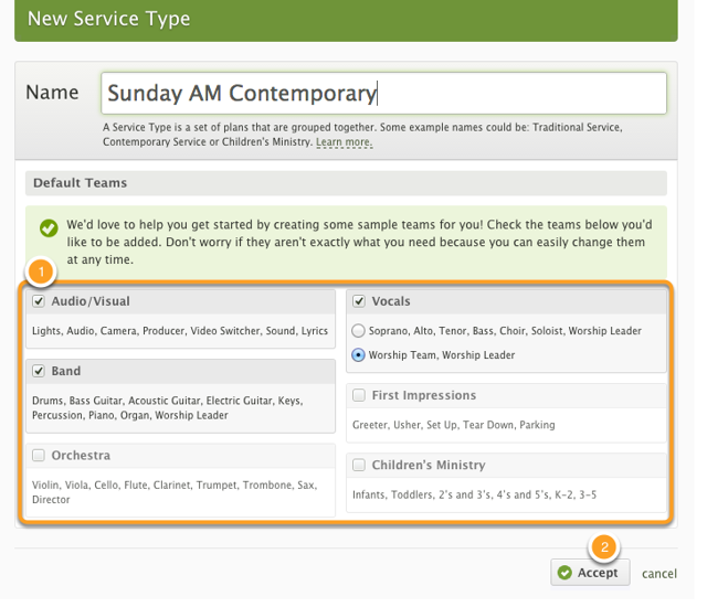 Your Plans Page: Create a Service Type
