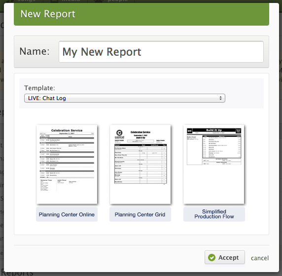 Give your report a name and choose the template you want to modify