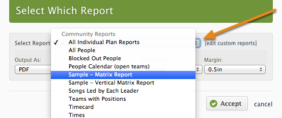 Click the arrows to see the Community Report options available.