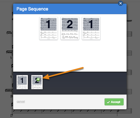 "To add more of the same pages to your sequence, hover over that page along the bottom and click the green ""+"" that comes up. This adds it to your sequence and you can remove and re-add your pages in the order you prefer."